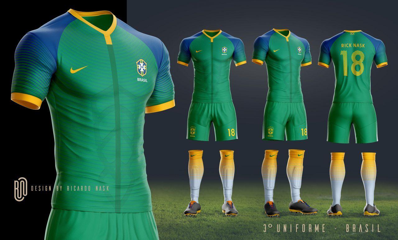 0e477c1088 As camisas da Seleção Brasileira deveriam ser mais ousadas  Nosso leitor  Ricardo Nask imaginou como deveriam ser os uniformes do Brasil feitos pela  Nike.