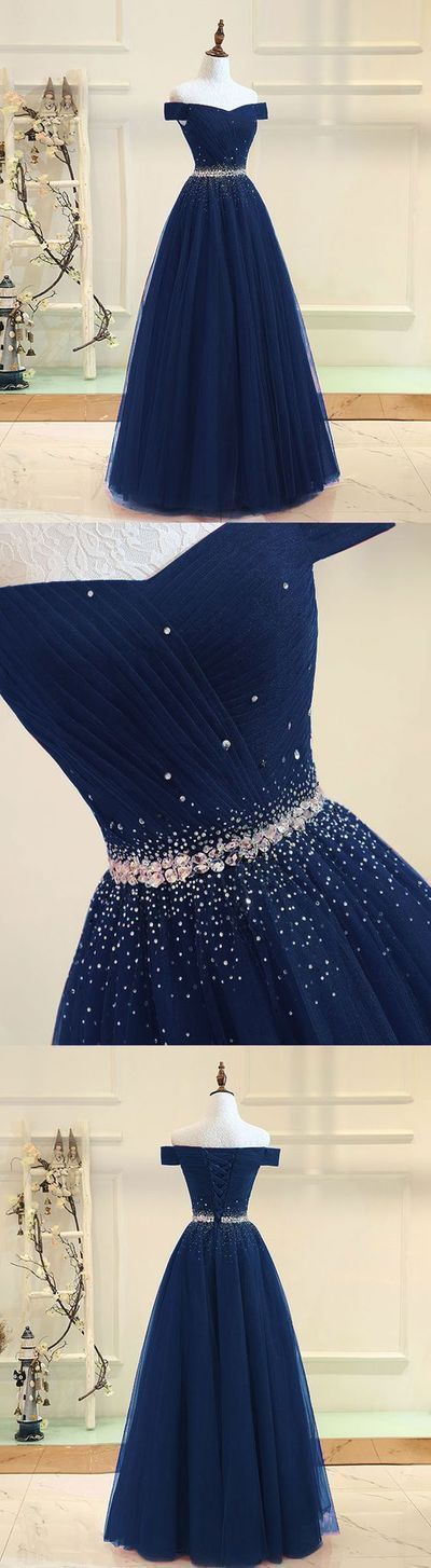 Navy blue tulle off shoulder long prom dress,navy blue evening dress