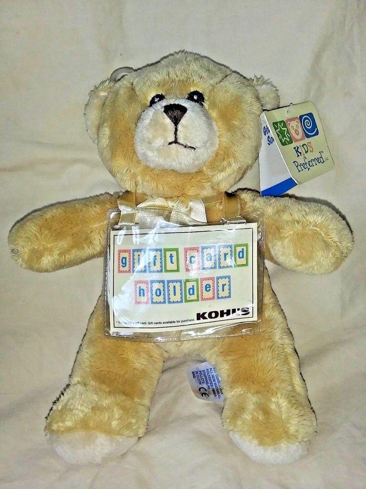 Kids Preferred Tan Brown Teddy Bear Kohls Gift Card Holder Plush