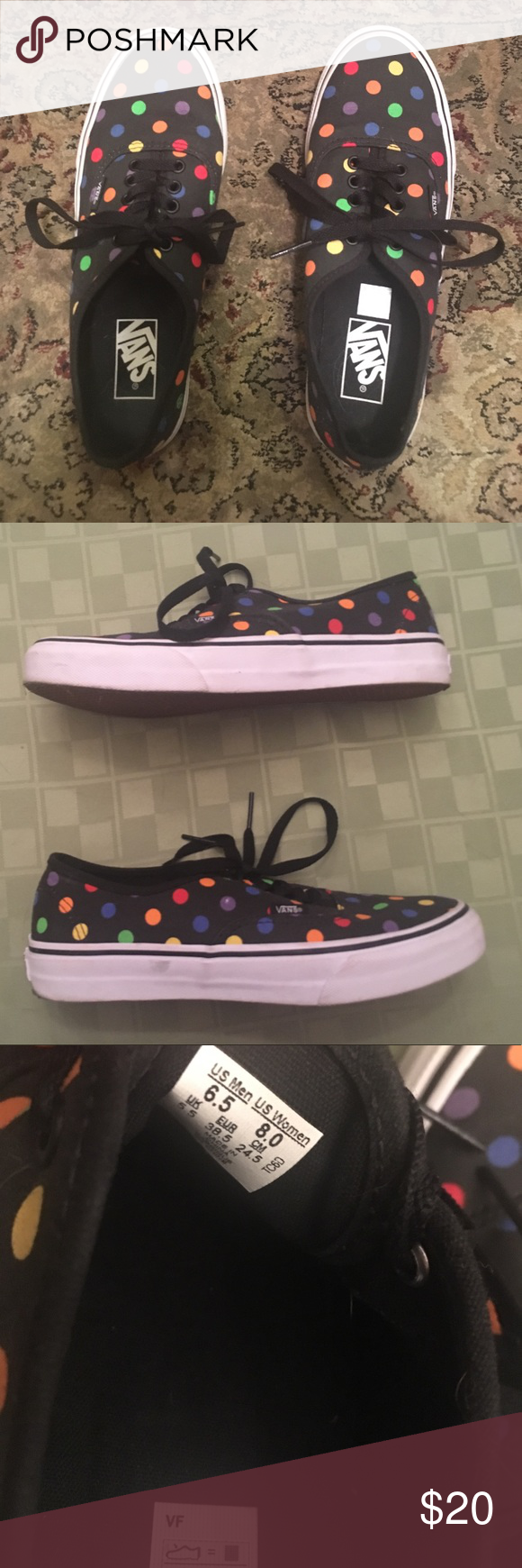 ad7badbf64 Vans Authentic Slim Polka Dot slim authentic vans in rainbow dot - worn a  couple times - back of sole is black from pavement but can be wiped off -  women s ...