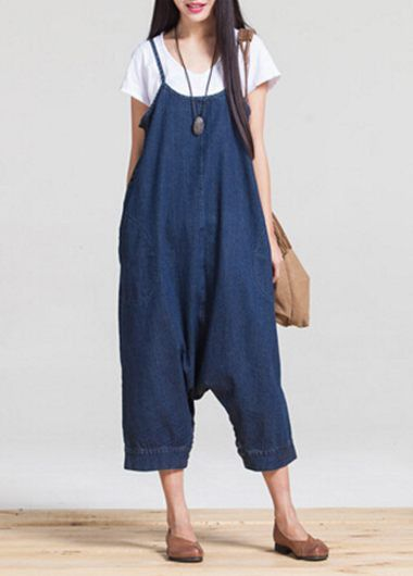 Pocket Design Loose Spaghetti Strap Denim Overall Jumpsuit on sale only US$35.84 now, buy cheap Pocket Design Loose Spaghetti Strap Denim Overall Jumpsuit at lulugal.com
