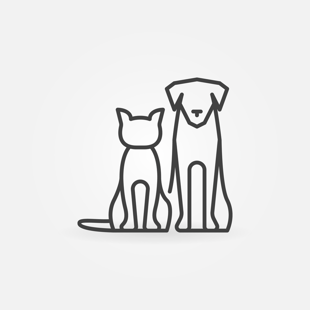 Cat Dog Icon Vector Pets Silhouettes Dog Icon Cat Icon Dog Silhouette