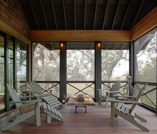 Screened Patio Design: Log Cabin Screened Porch With Open Rafter