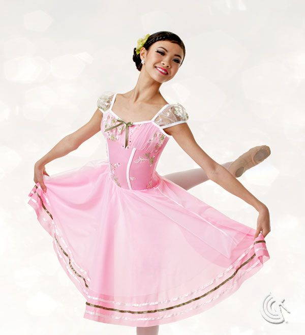 Curtain Call Costumes® - Spring Morning Pink nylon/spandex leotard with embroidered bodice overlay and sleeves, and binding and ribbon trim. Attached tricot and crepe skirt with ribbon trim. INCLUDES: flower barrette Troupe price: $65 AUD - $70 AUD