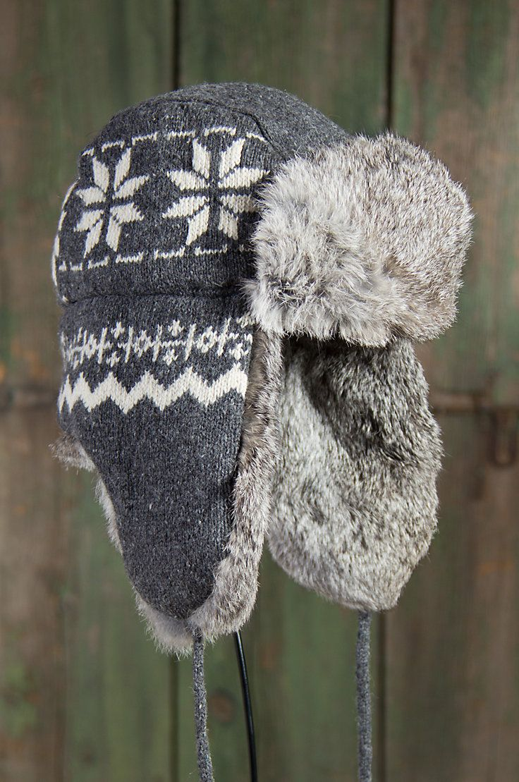 cd291c14812 Snowflake Wool Aviator Hat with Rabbit Fur Lining by Overland Sheepskin Co.  (style 73273)