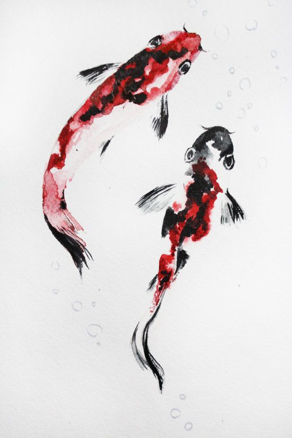 Original watercolor painting two koi fish gold by for Original koi fish