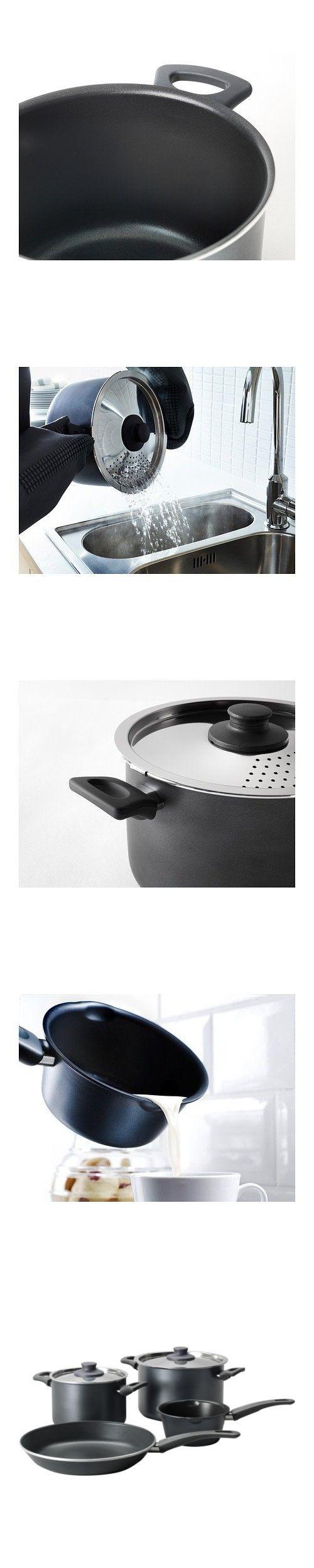 """5deac91d4 IKEA - SKГ""""NKA 6-piece cookware set, gray   Kitchen Cookware Sets ..."""