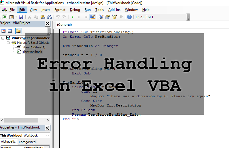 How to handle errors in Excel and VBA  This contains code