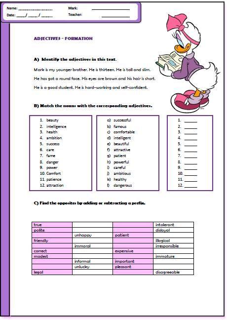 Adjective Formation Worksheet Root Words Prefixes Prefixes