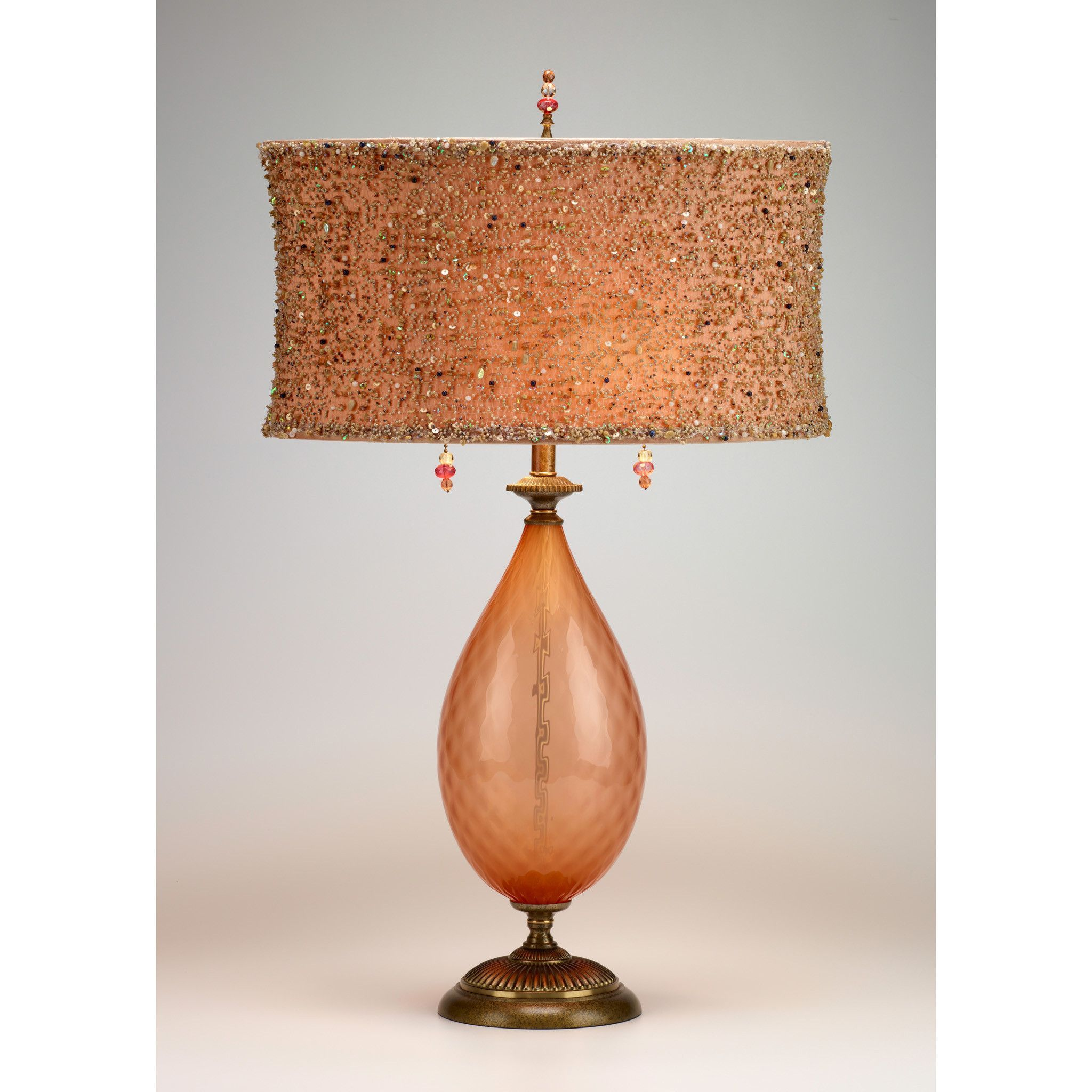 Kinzig Margie Table Lamp 83af86 Has A Soft Peach Colored, Hand Blown Glass  Base,