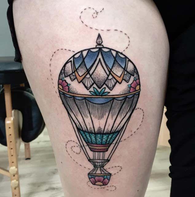48 Incredible Hot Air Balloon Tattoo Designs | Air balloon ...