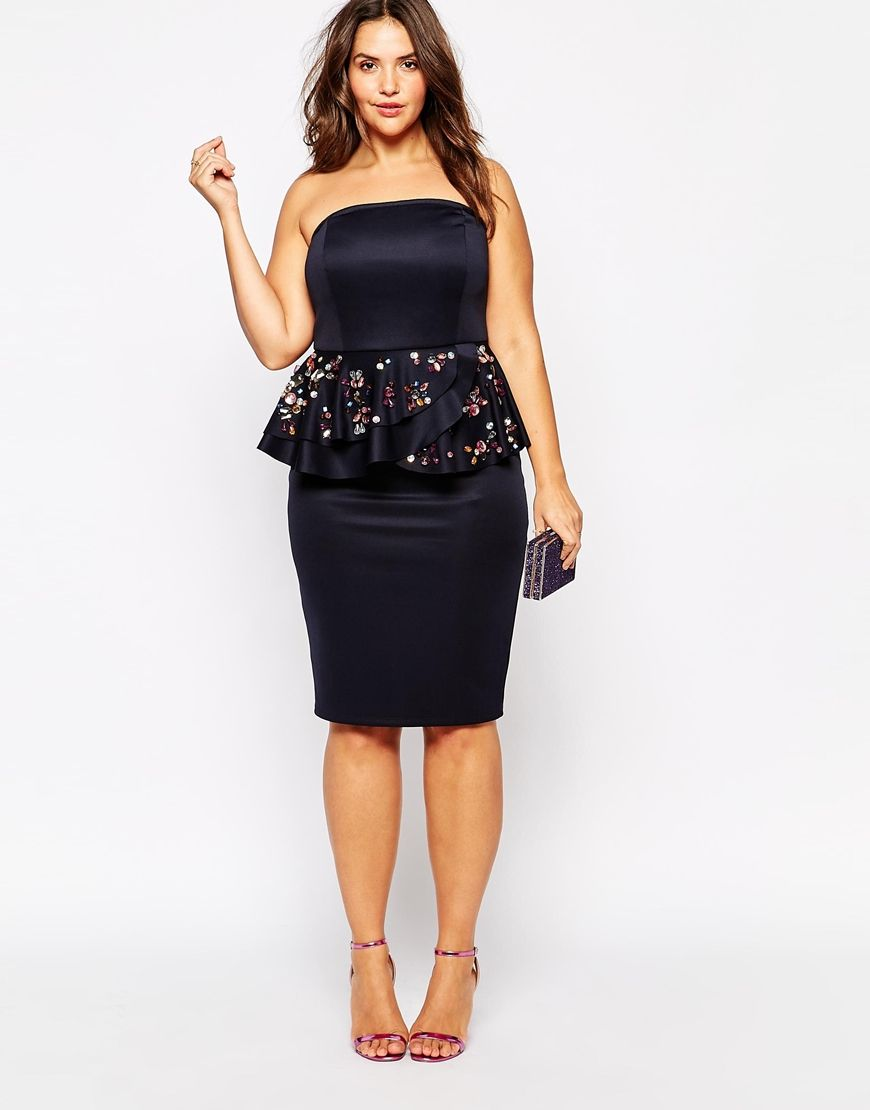 Asos wedding guest dress midi  Image  of ASOS CURVE Bandeau Dress with Jewel Peplum  Perfect for