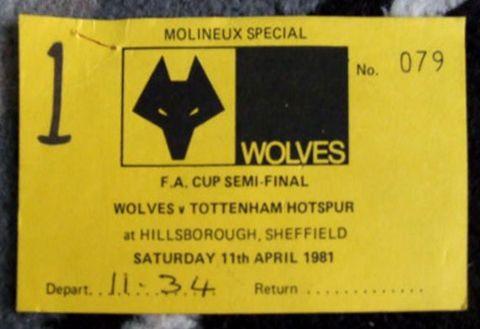Wolves V Spurs April 11 1981 FA Cup Semi Final British Rail Football Special Train Ticket