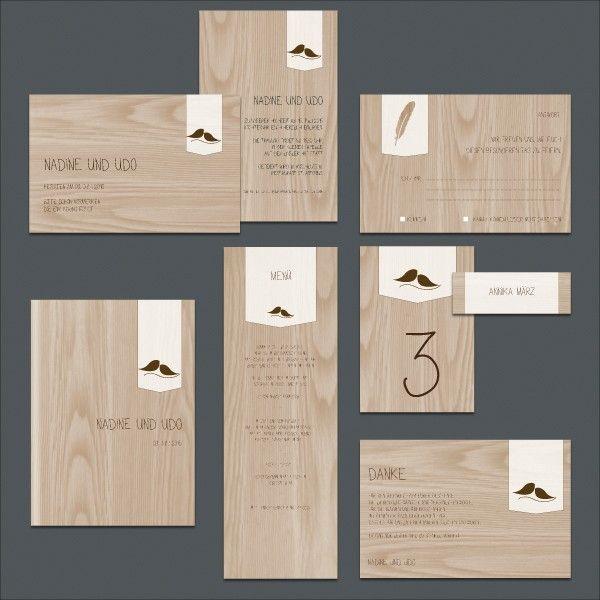 Hochzeitseinladung Zum Selberdrucken Im Holzdesign Mit Vogelpaar