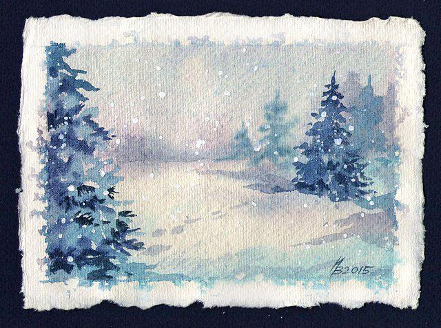 Как сделать снег на картинки из акварельных карандашей, поздравляю работой индейцы