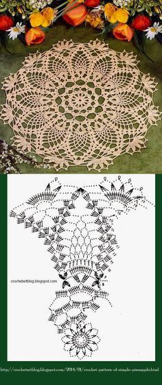 #_TANGERINE Crochet Doily with Diagram Pattern