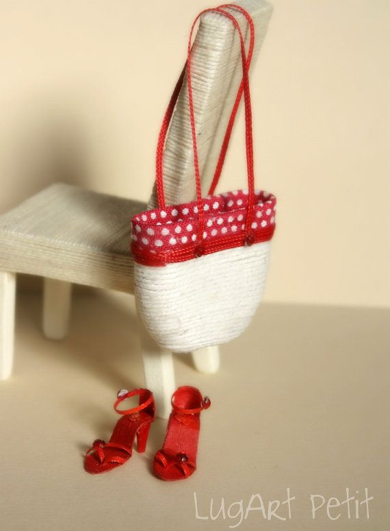 Red set of bag with sandals by LugartPetit on Etsy