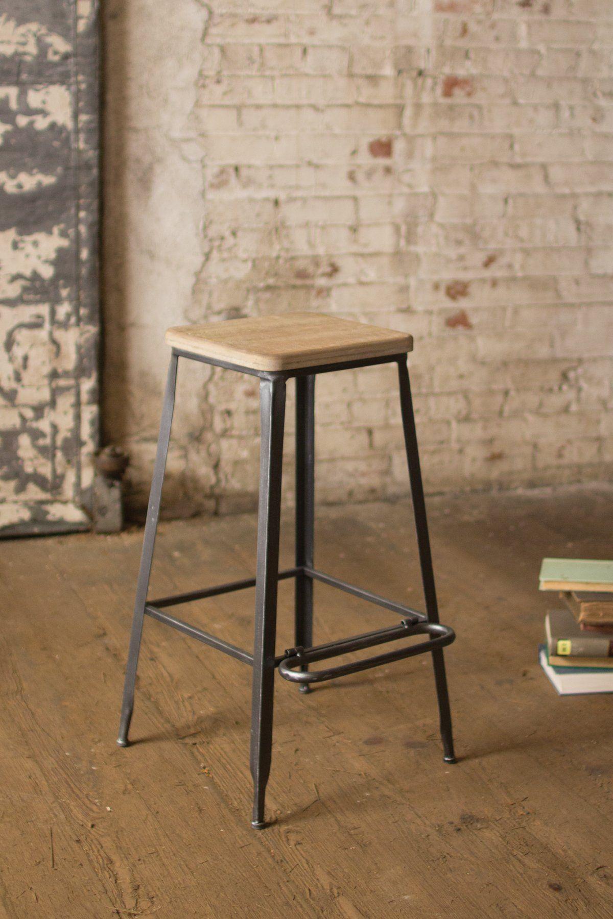 Metal Bar Stool With Square Wooden Seat Metal Bar Stools White