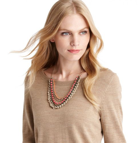 Loft - LOFT Sale Accessories - Long Bright Pink Multi Strand Necklace
