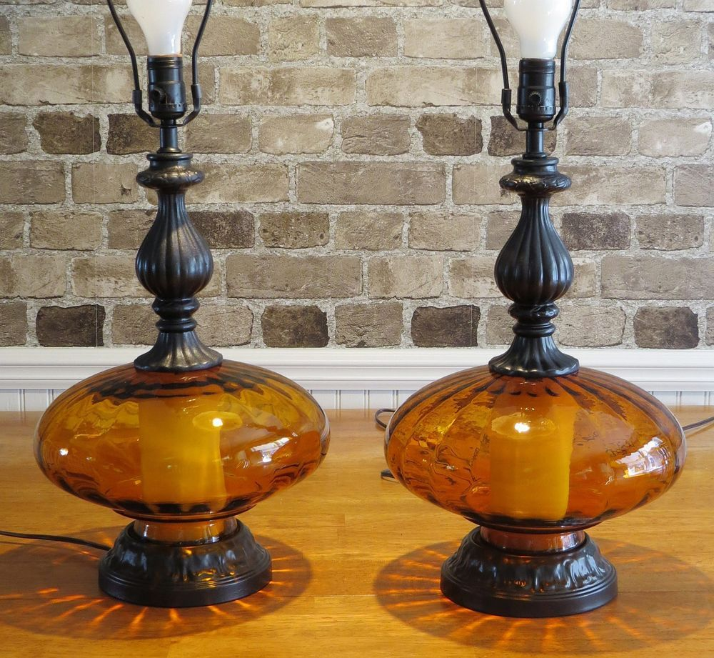 Vintage Pair Of Amber Gl Base Table Lamps W Night Light Bases
