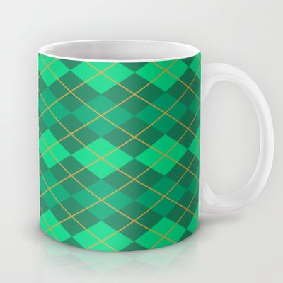 FREE Shipping for this Emerald Green and Gold Argyle Pattern 11 oz Mug $15 until January 12, 2014 at Midnight Pacific Time - USE THIS LINK: http://society6.com/Artefficient?promo=432892 #freeShipping #geometric