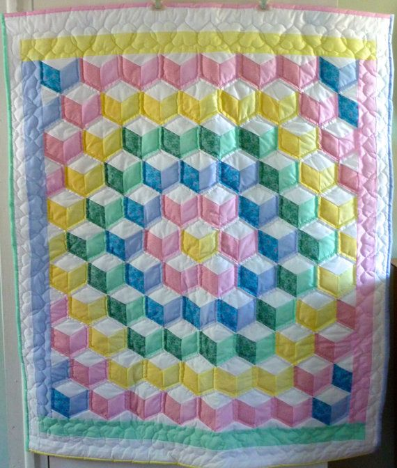 Baby Quilt Blocks.Amish Baby Quilt Tumbling Blocks Pattern By
