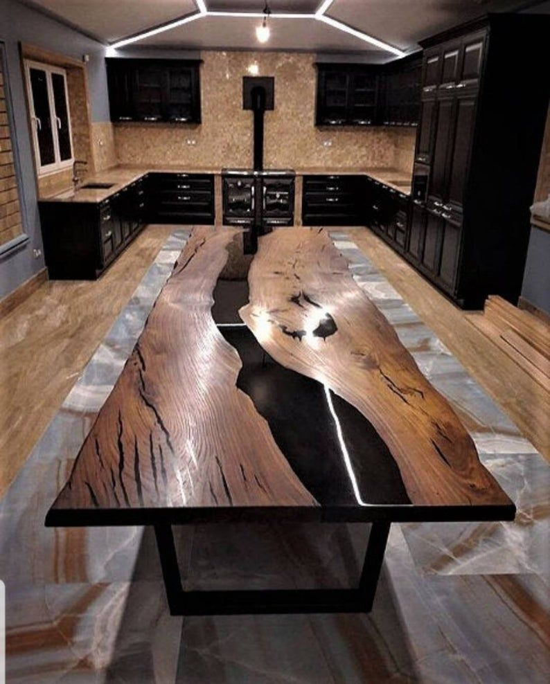Sold For Cristmas Ready To Ship Walnut Black Epoxy Table Wood Table Design Wood Resin Table Epoxy Wood Table