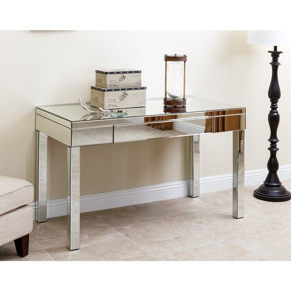 Abbyson Living Sylvia Mirrored Desk 420 Liked On Polyvore Featuring Home Furniture Desks Silver