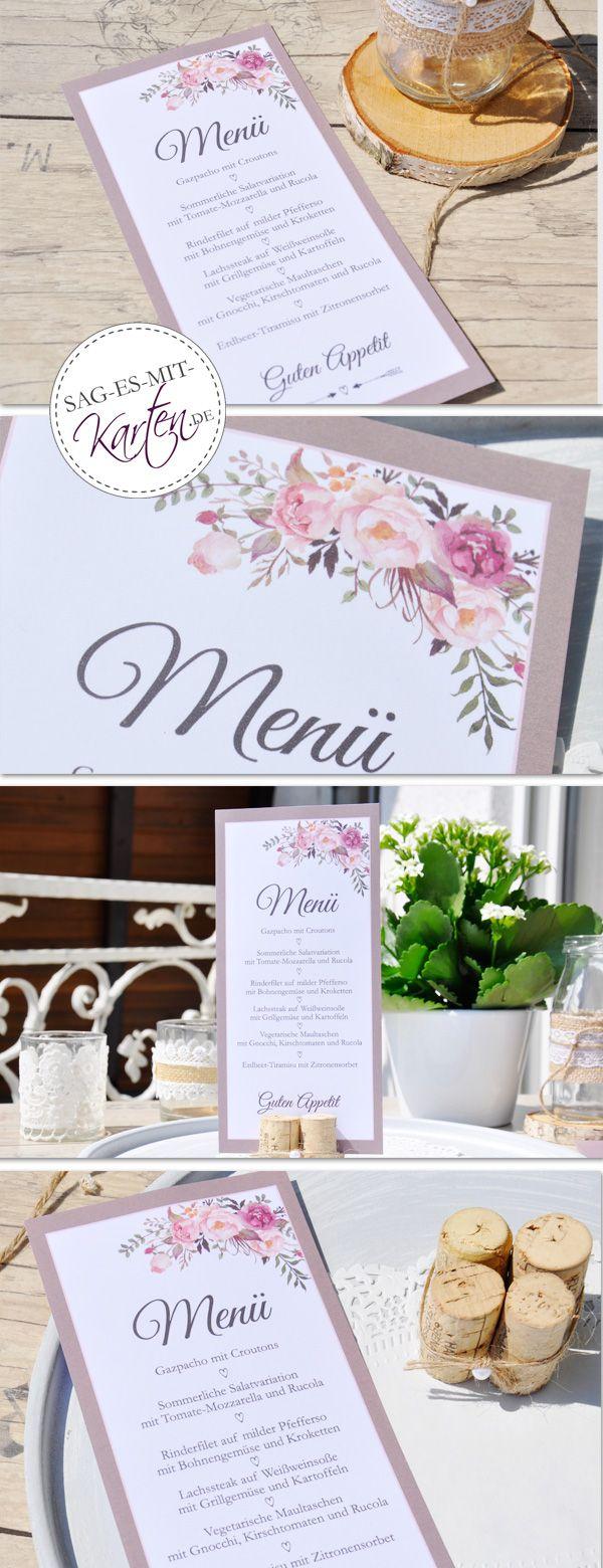 Photo of Tarjetas de menú boda vintage soporte de flores
