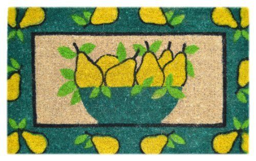 Imports Decor Decorated Coir Doormat Golden Pears Design