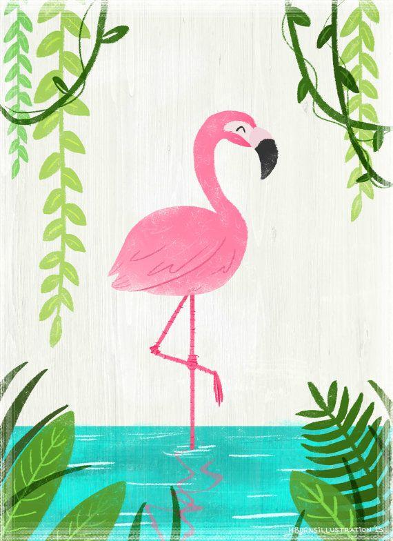 Flamingo Illustration Print By Artbyheatherburns On Etsy