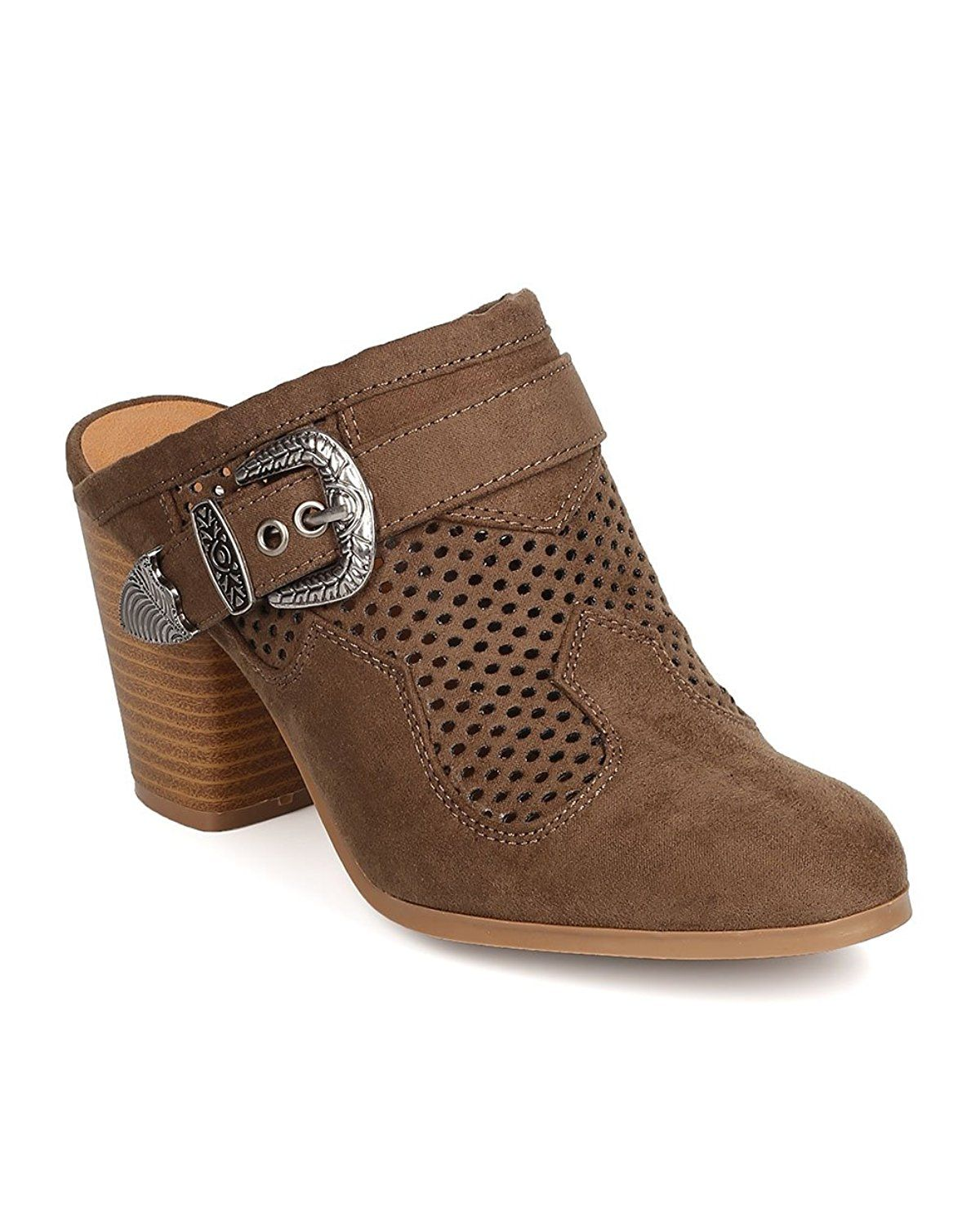 62fdc55c4b80 Qupid FD91 Women Faux Suede Perforated Buckled Chunky Heel Mule - Khaki --  Check out the image by visiting the link.