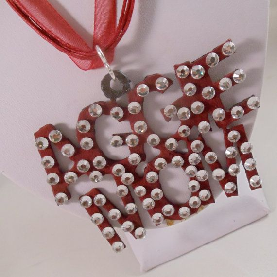 Rhinestone Aggie Mom Ribbon Necklace by ScarletRoot on Etsy, $25.00