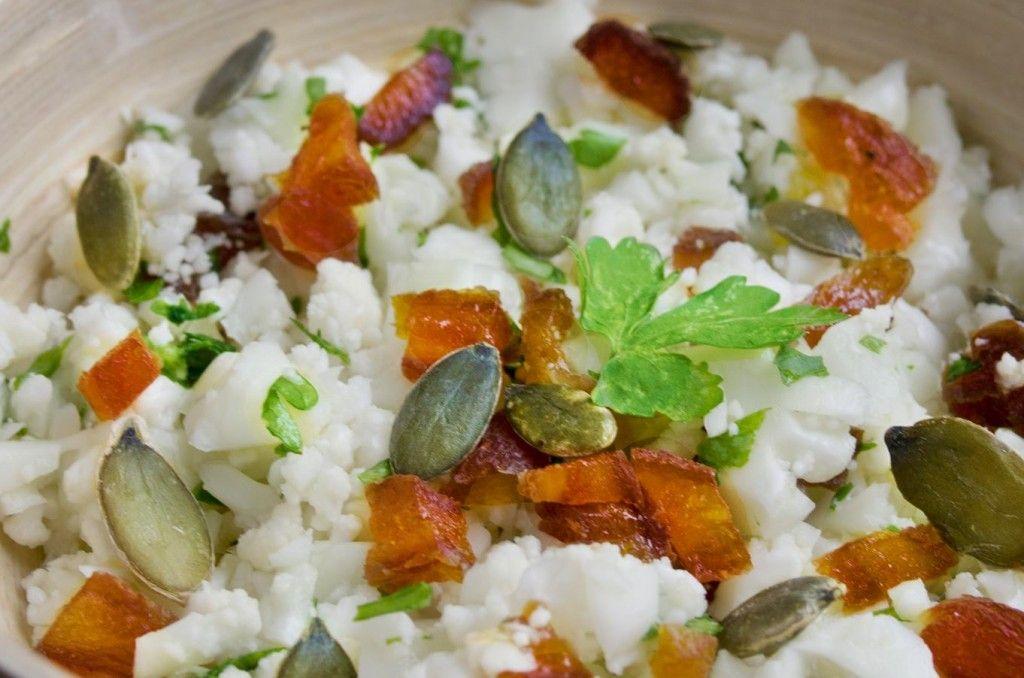 salade bowl : chou fleur en semoule ! sans gluten, cru et vegan!