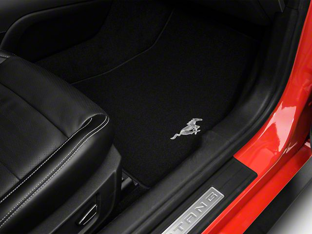 Ford Mustang Front Floor Mats W Running Pony Logo Black Fr3z 6313300 Ac 15 20 All Mustang Interior Mustang Ford
