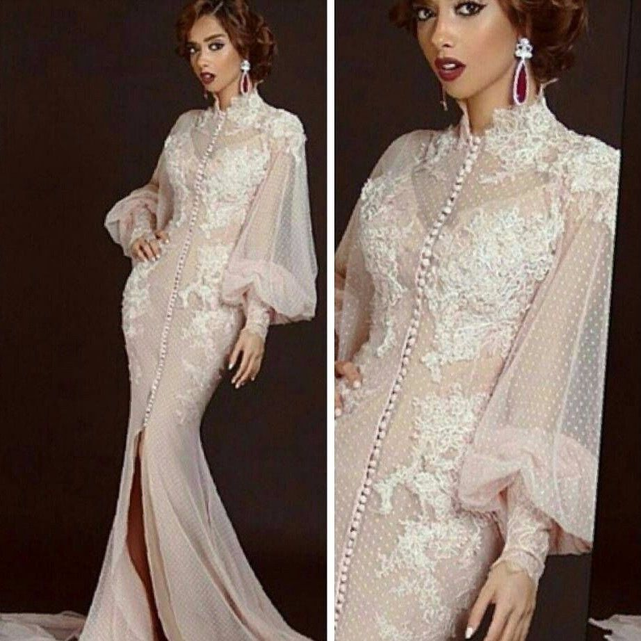 Click to Buy << Eveing Party Dress Full Sleeves Appliques Long ...