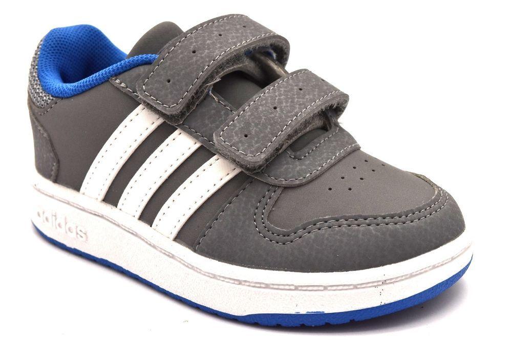 b2f28db64 ADIDAS B75964 HOOPS 2.0 GRIGIO Bianco Scarpe Ginnastica Strappi Sneaker  Bambino