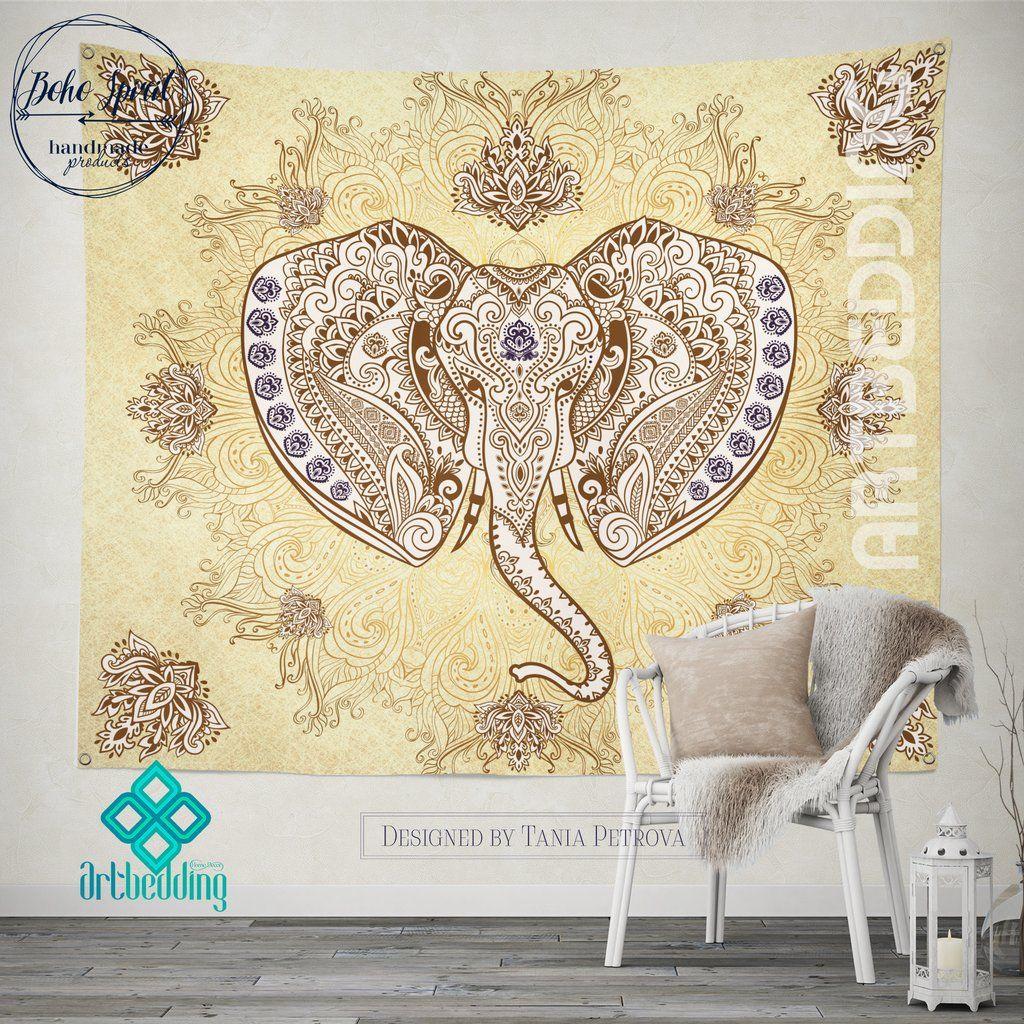 Elephant Tapestry, Ganesh Elephant head wall tapestry, Elephant wall ...
