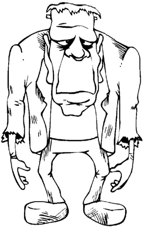 Frankenstein Zombie Coloring Page Coloring Pages Pinterest