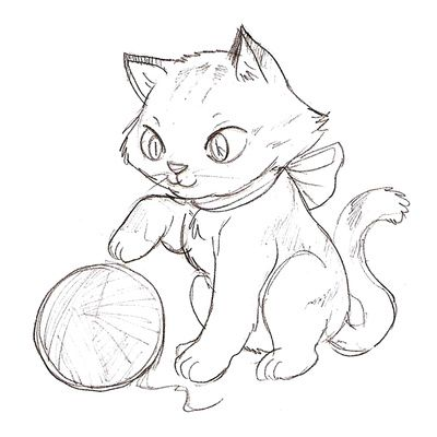 cat color pages printable Kitten Coloring Page Cartoon Cat Chasing