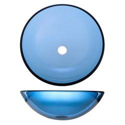 Geyser Blue Tinted Tempered Glass Bathroom Vessel Sink
