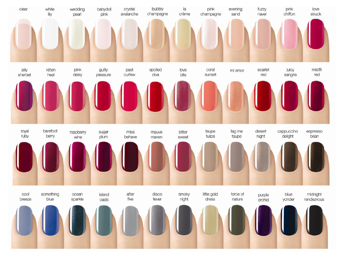 Nice opi nail polish colors list 4 opi nail polish color names list - Colour Chart For Sensational Gel Nail Polish