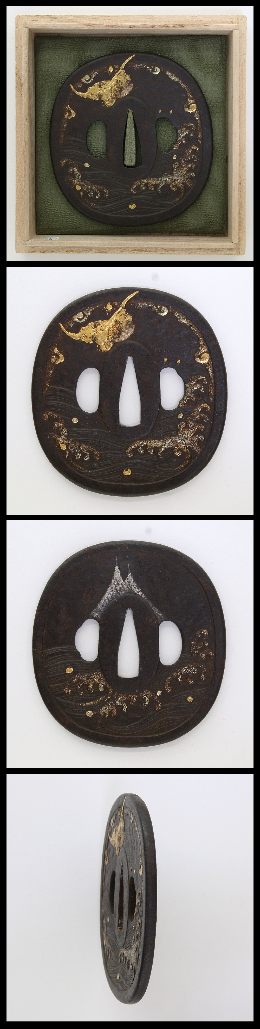 Iron Tsuba, wave is engraved with gold and silver cloth inlay