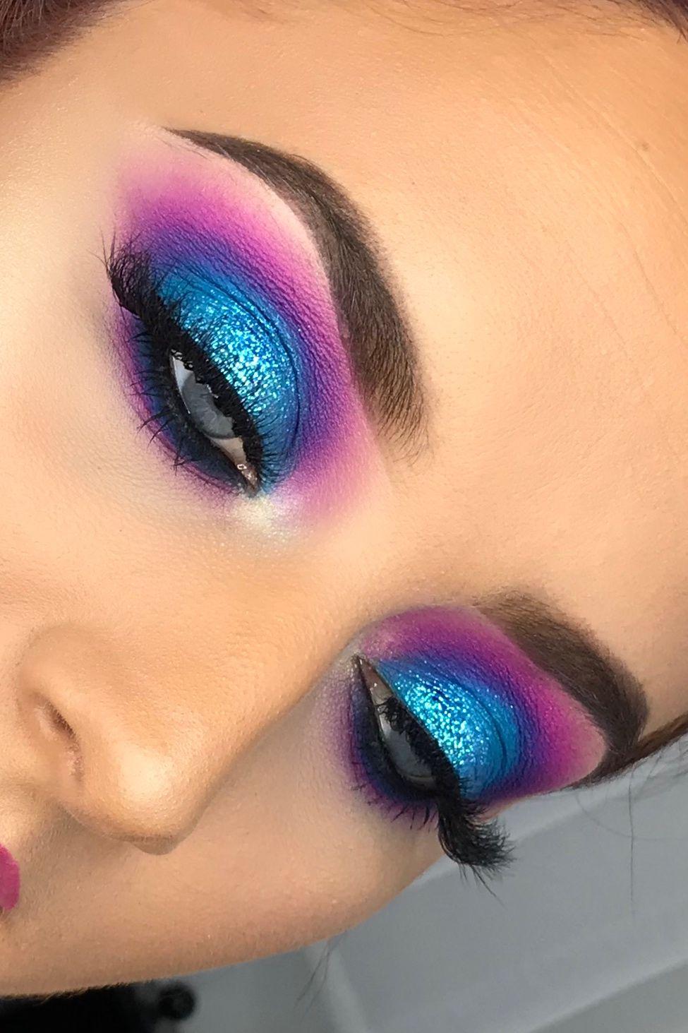 pink and blue smokey eyes! mermaize | makeup in 2019 | blue