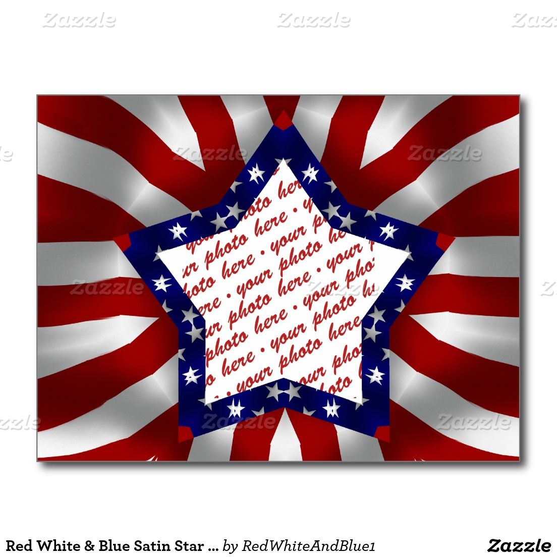 Red White & Blue Star Photo Frame Postcard by #RedWhiteAndBlue1 #Patriotic #Zazzle #Gravityx9