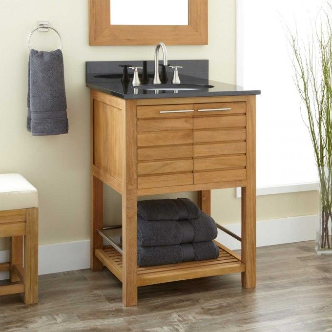 24 Salinas Teak Vanity With Undermount Sink Bathroom Vanities