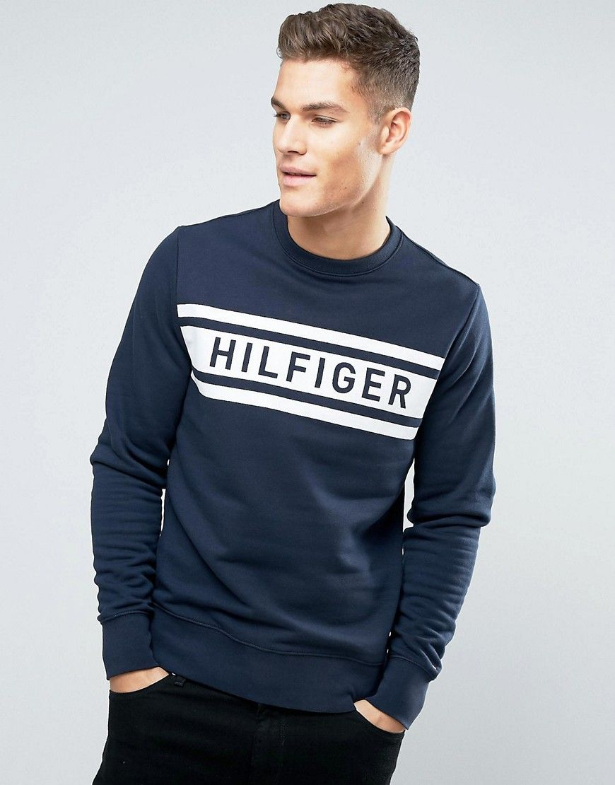 Tommy Hilfiger Denton Logo Sweatshirt Crew Neck Navy Mens Outfits Mens Polo T Shirts Tommy Hilfiger T Shirt [ 1110 x 870 Pixel ]