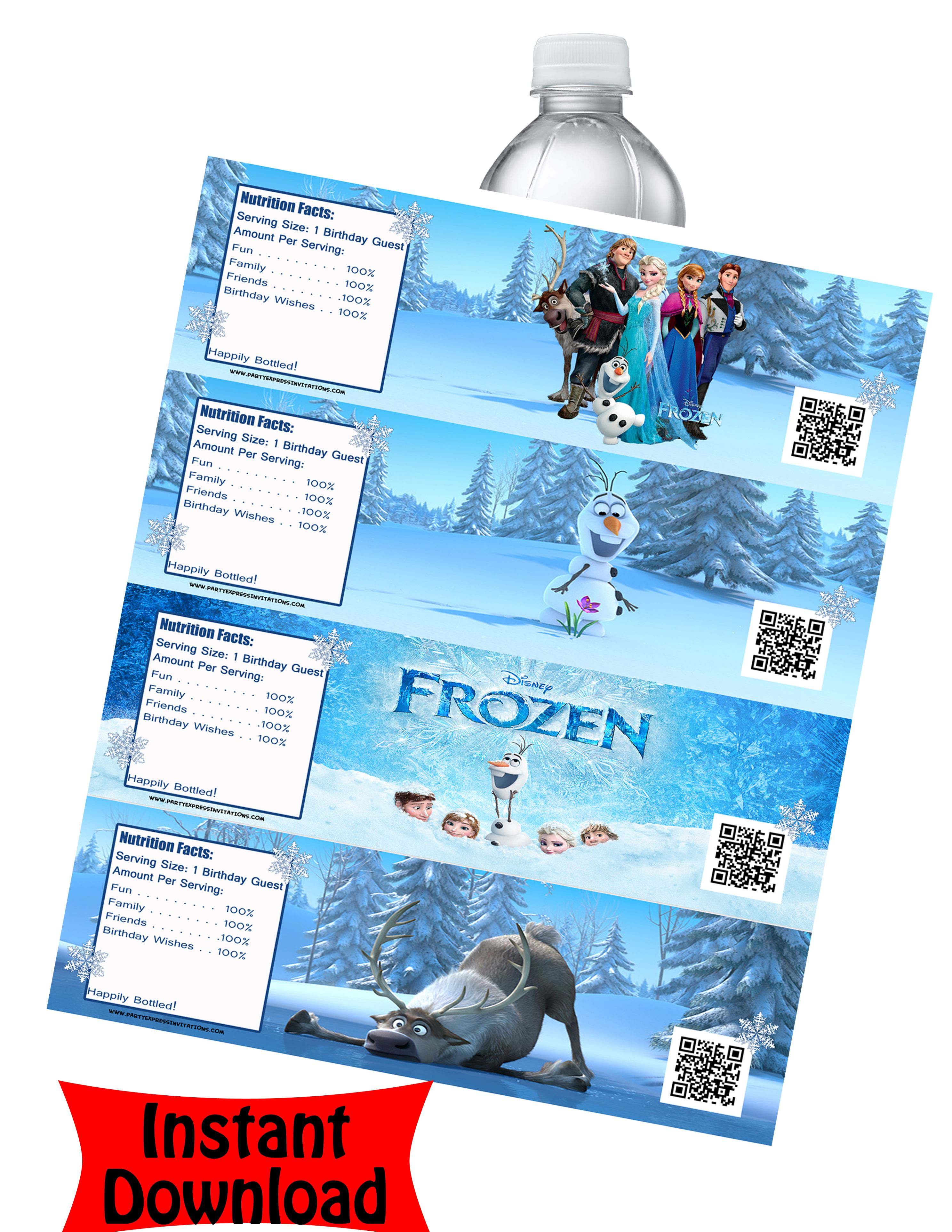 Frozen Water Bottle Labels   Disney Frozen Movie Birthday ...