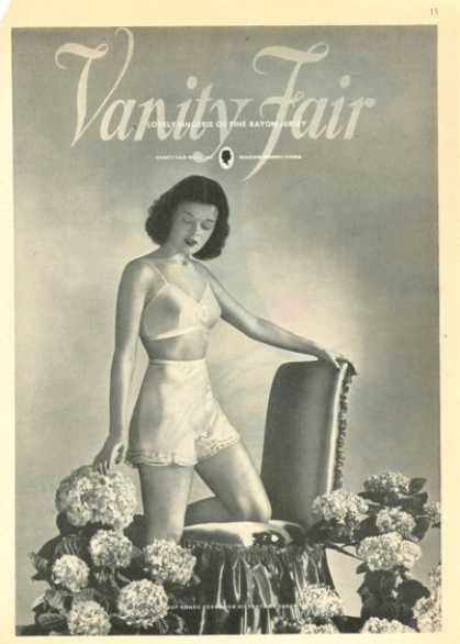 bd6314db2 1945 Vanity Fair Ad. The 40′s reintroduced a defined high waist.