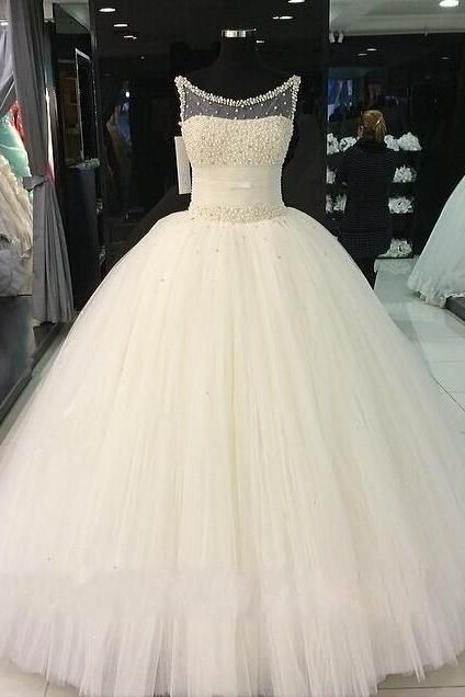 Gorgeous Ball Gown Wedding Dresses Jewel Sweep/Brush Top Beading ...